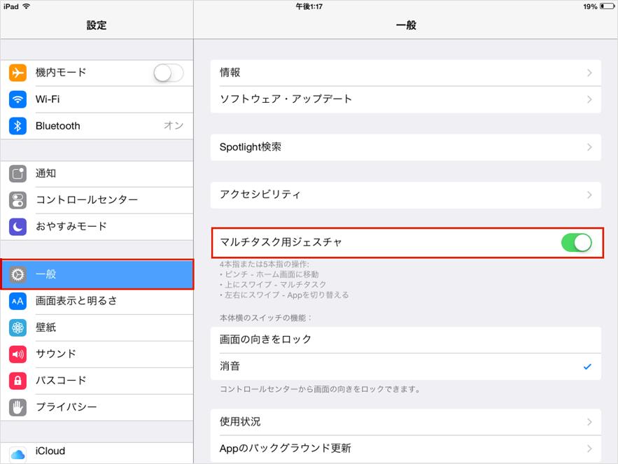iPadジェスチャー設定